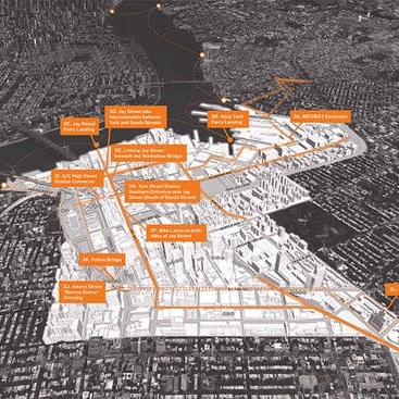 Site highlighted, with colored routes and callouts of key spaces  Source:  https://archinect.com/news/article/79300348/the-brooklyn-tech-triangle-as-the-next-silicon-valley