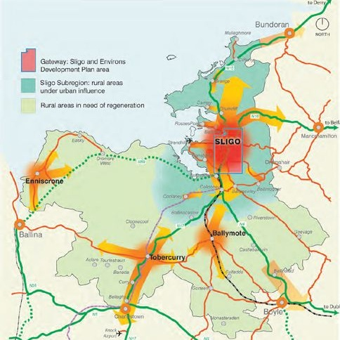 Map of hub network strategy, Source: Sligo County Council