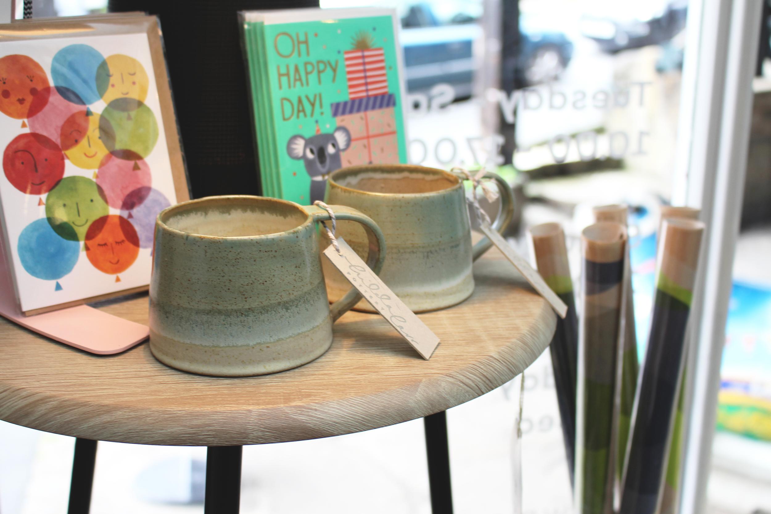 Celadon green mugs with glaze - £16 (each)