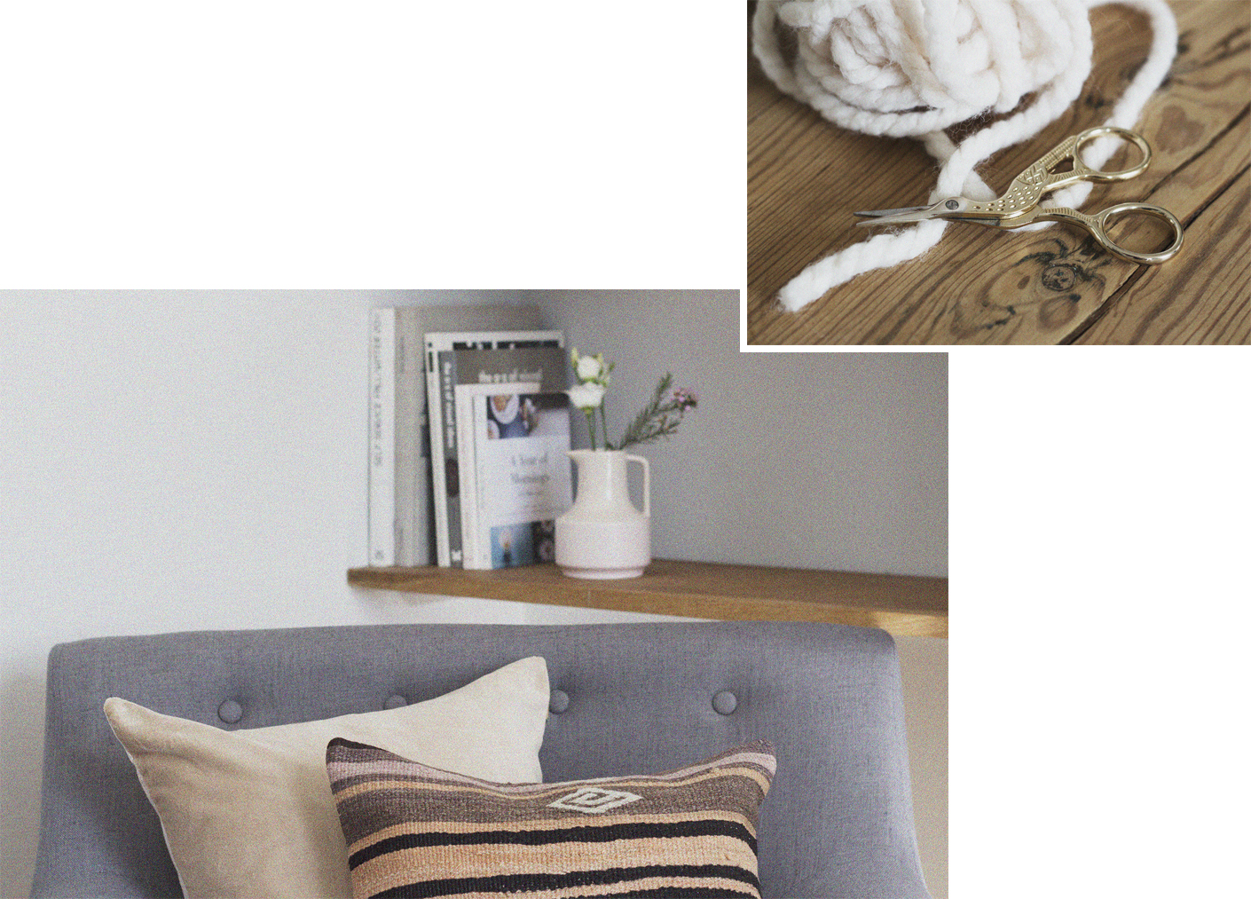 Fifty Jug - Nude Pink £14  , Kilim Cushion #6 £36,  Taupe Cushion £32     ,  Crane Scissors - £9