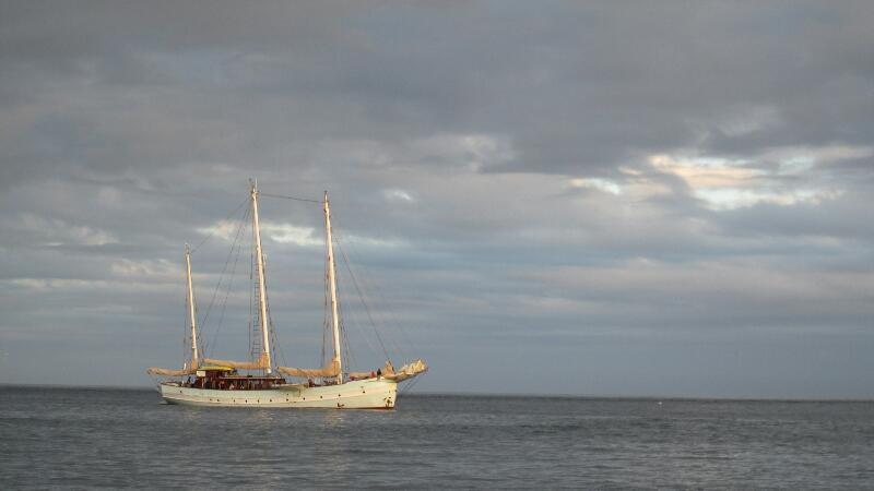 Schooner at anchor.