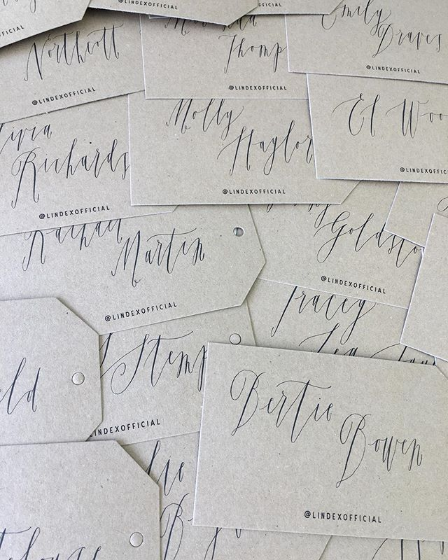 Place name tags to be tied around flower posies for each guest for a press breakfast at the glorious @petershamnurseries 💐  Oblique penholder / Nikko G nib / Japanese ink stick