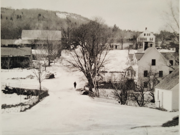 A picture of Chocorua Village in 1906 looking across the bridge. The Farmstand is the one story building on the left!