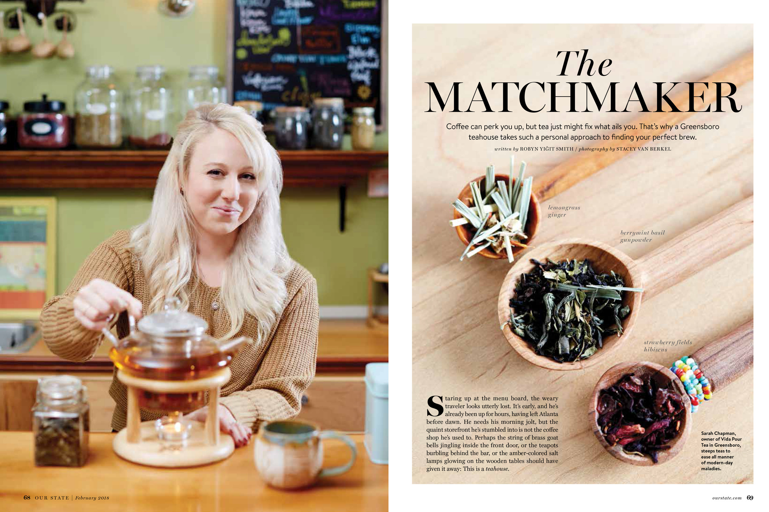 Check us out - Vida Pour Tea was recently featured in Our State Magazine - click the photo to see the full article.