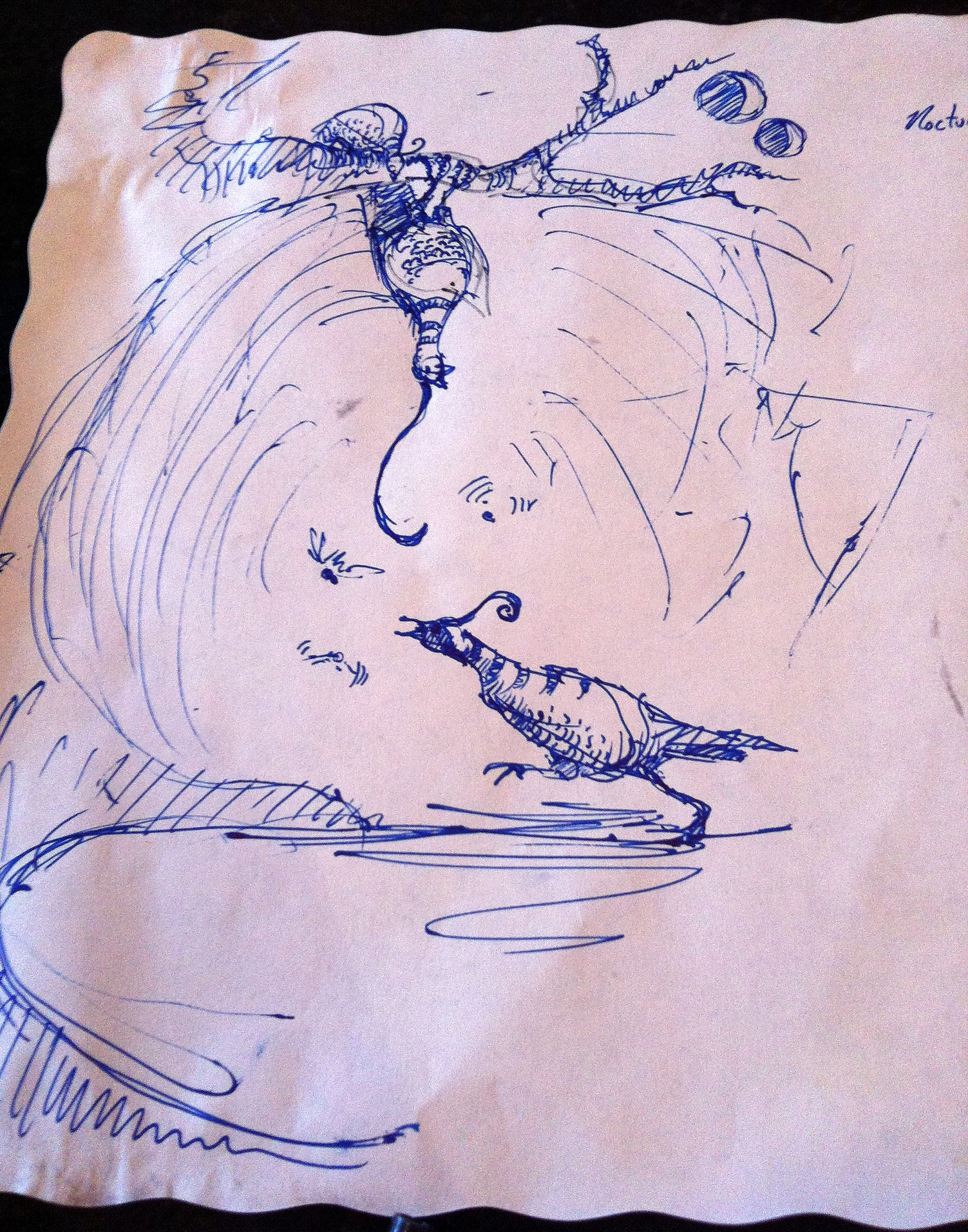 The original sketch for the first post, drawn on a placemat at the Hollywood Diner