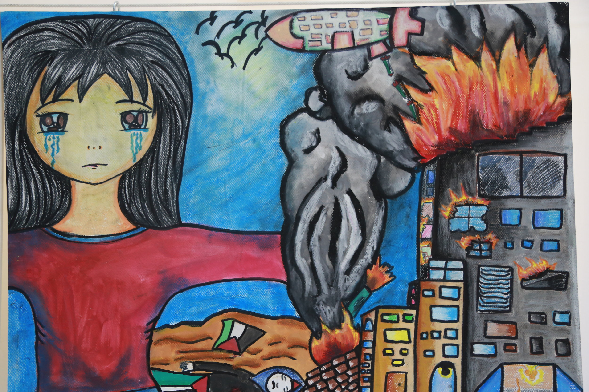 A painting by a Palestine refugee student created during an UNRWA art therapy session
