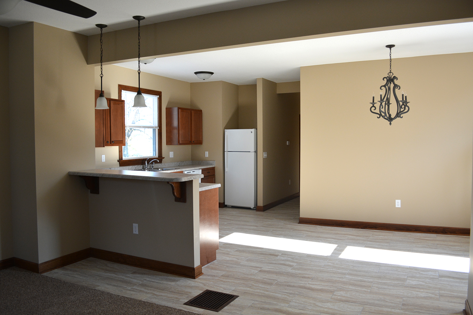 AFTER: From living, looking into kitchen