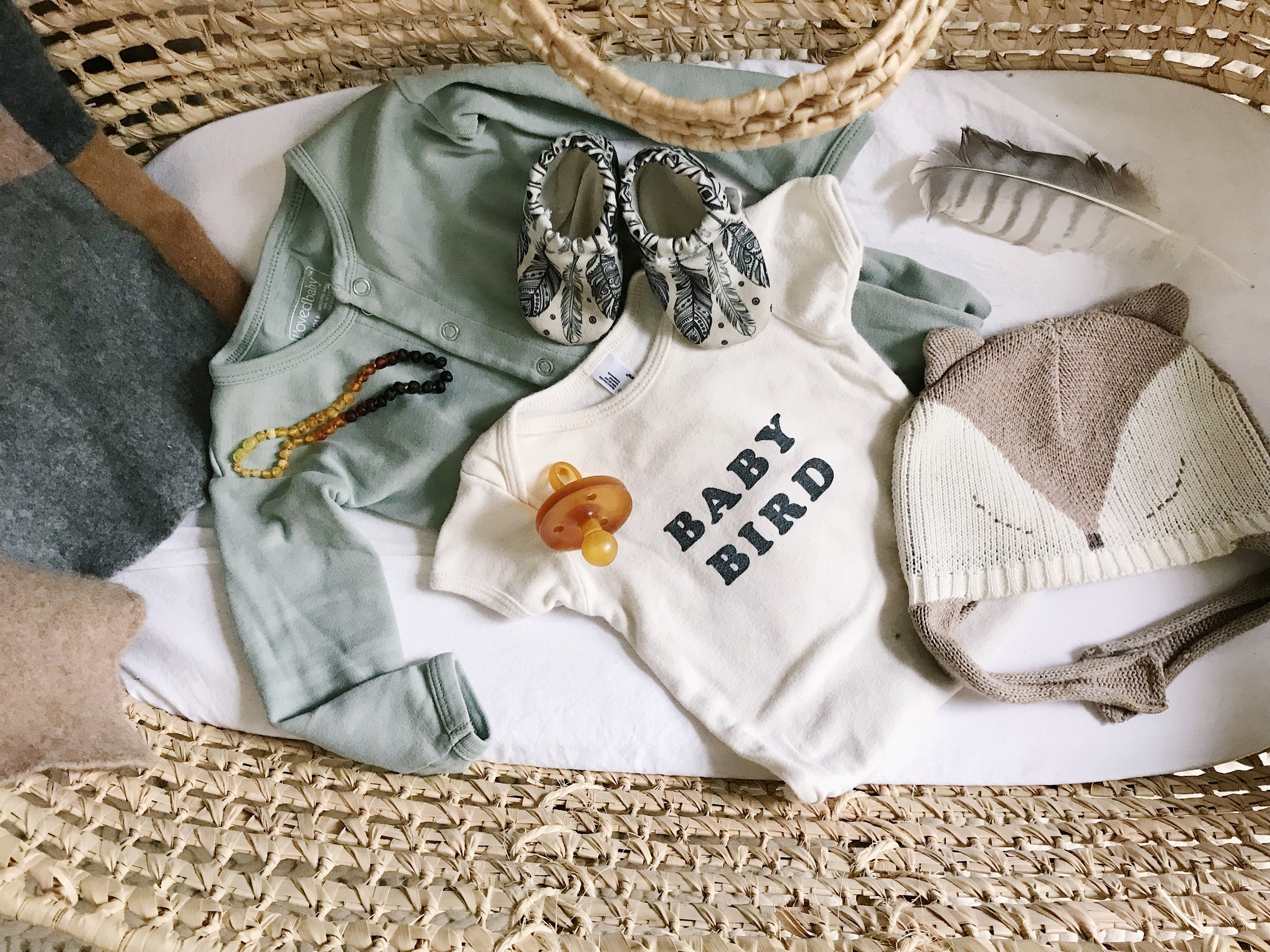 ITEMS:   Amber Necklace ,  Seafoam Footed Pajama ,  Baby Bird Onesie ,  Pacifier ,  Booties ,  Hat ,  Moses Basket ,  Mattress ,  Sheet