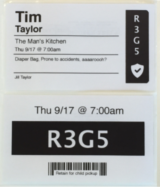 Example of a child's check-in label (top), and parent's corresponding pickup label (bottom).