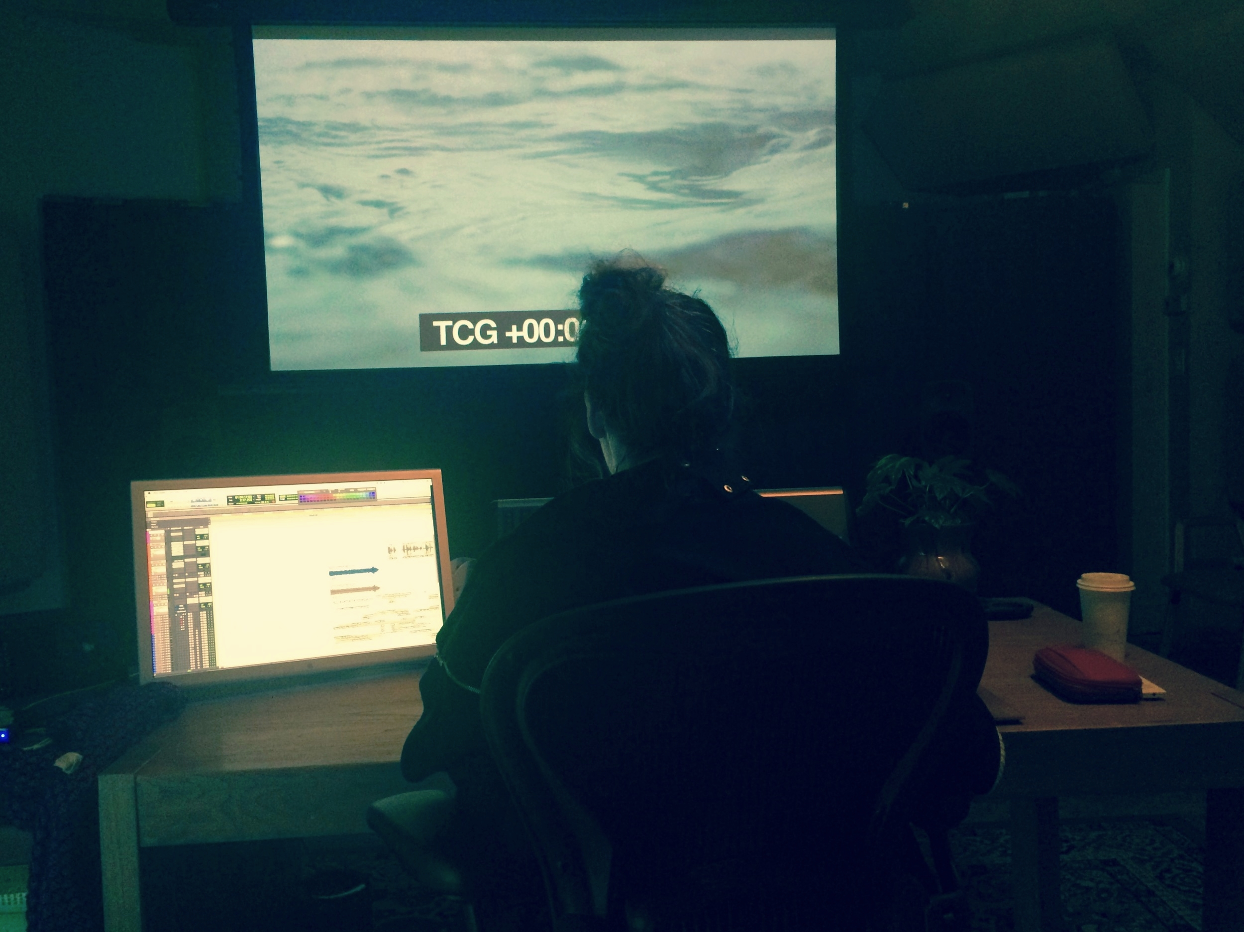 Gisela works on the final sound mix in Brooklyn, NY.
