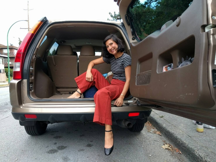 Isabel Marant flats, Jesse Kamm pants, Edith Miller t-shirt, mom-mobile is 2002 Honda CRV.
