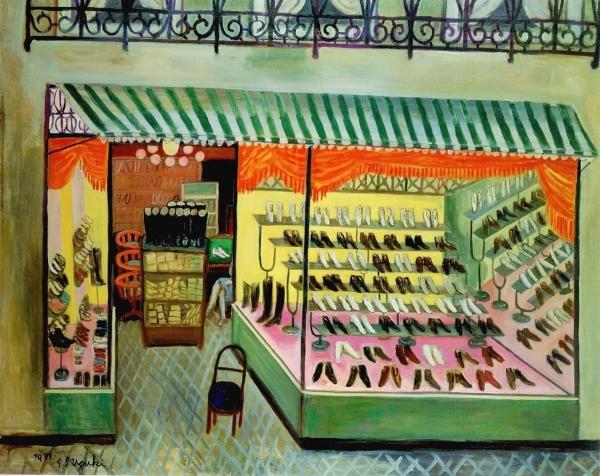 """Artwork by Shintaro Suzuki, """"Shoe Shop"""", 1931"""
