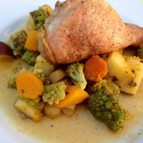 Roasted chicken and fall vegetables with Roasted Garlic Herb Butter.