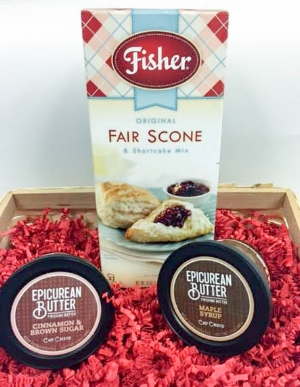 Epicurean Maple Syrup butter and Fisher Original Fair Scone And Shortcake Mix.
