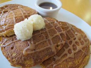 Pumpkin Pancakes topped with Caramel Sea Salt Butter- Urban 24 Restaurant