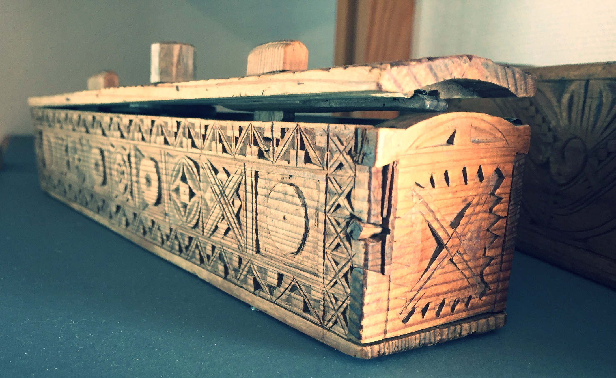 Hand carved knitting needle box.  The Woven Road