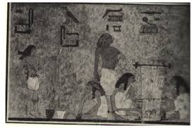 Egyptian wall art depicting two women weaving on a horizontal loom.