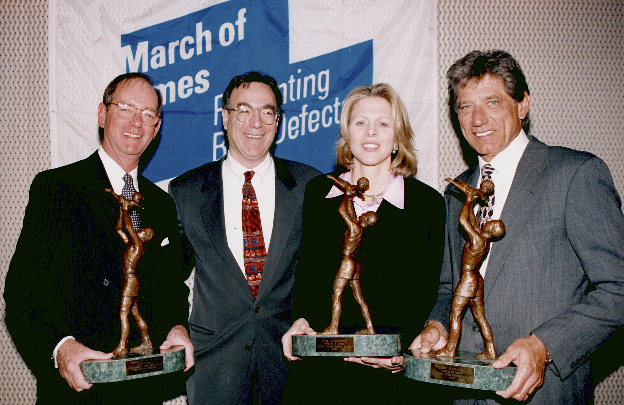 New York Jets Superbowl-Winning Quarterback Joe Namath, WNBA Commissioner Val Ackerman, Sculptor Marc Mellon, and Sports Marketing Leader Chuck Fruit