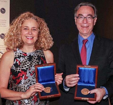 Babette Bloch and Marc Mellon with the  Artists' Fellowship Award - The Benjamin West Clinedinst Memorial Medal.