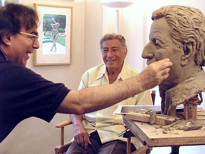 Tony Bennett with Mellon and bust, in process Mellon Studio