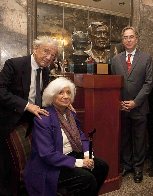 Elie Wiesel Bust Dedication, October, 2012, 92nd Street Y, New York, NY with Elie and Marion Wiesel and sculptor Marc Mellon.