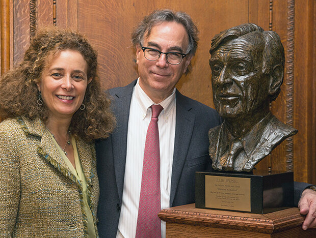 Elie Wiesel Bust Dedication, Elie Wiesel Center for Judaic Studies, Boston University, September 2014 with Babette Bloch and Marc Mellon.