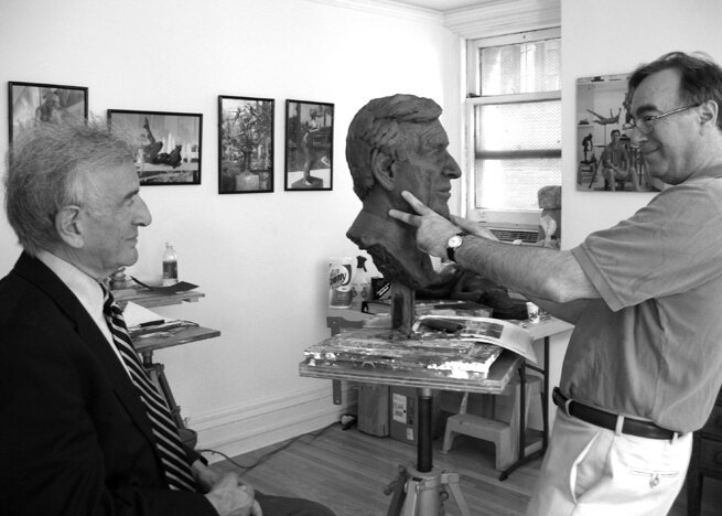 Working on the clay model of the original life-size bust, New York City.