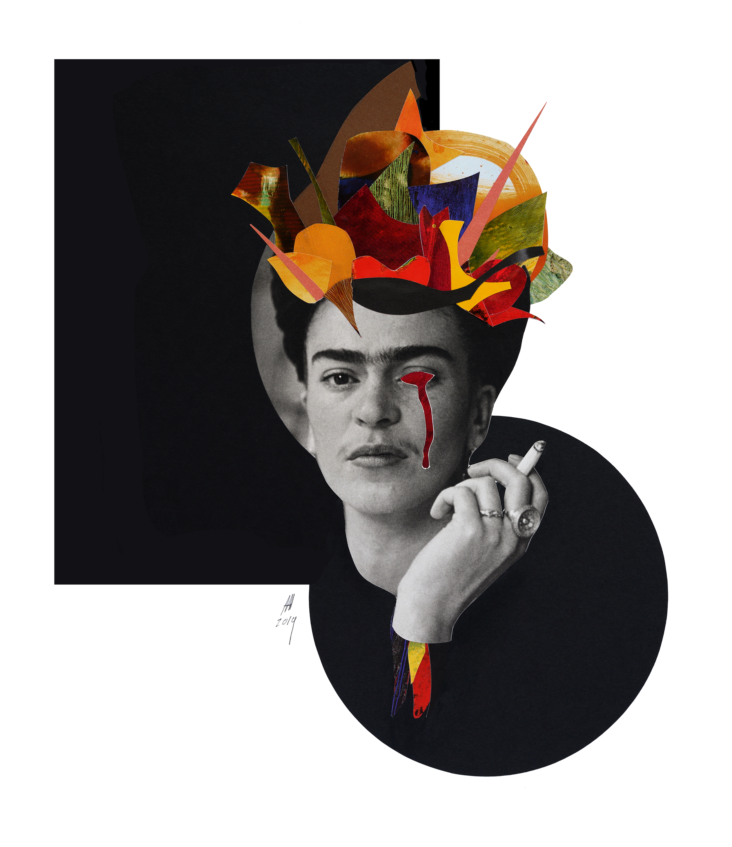 'FRIDA' | analog  collage on 100Ib Bristol, 14 x 17 inches. 2019.