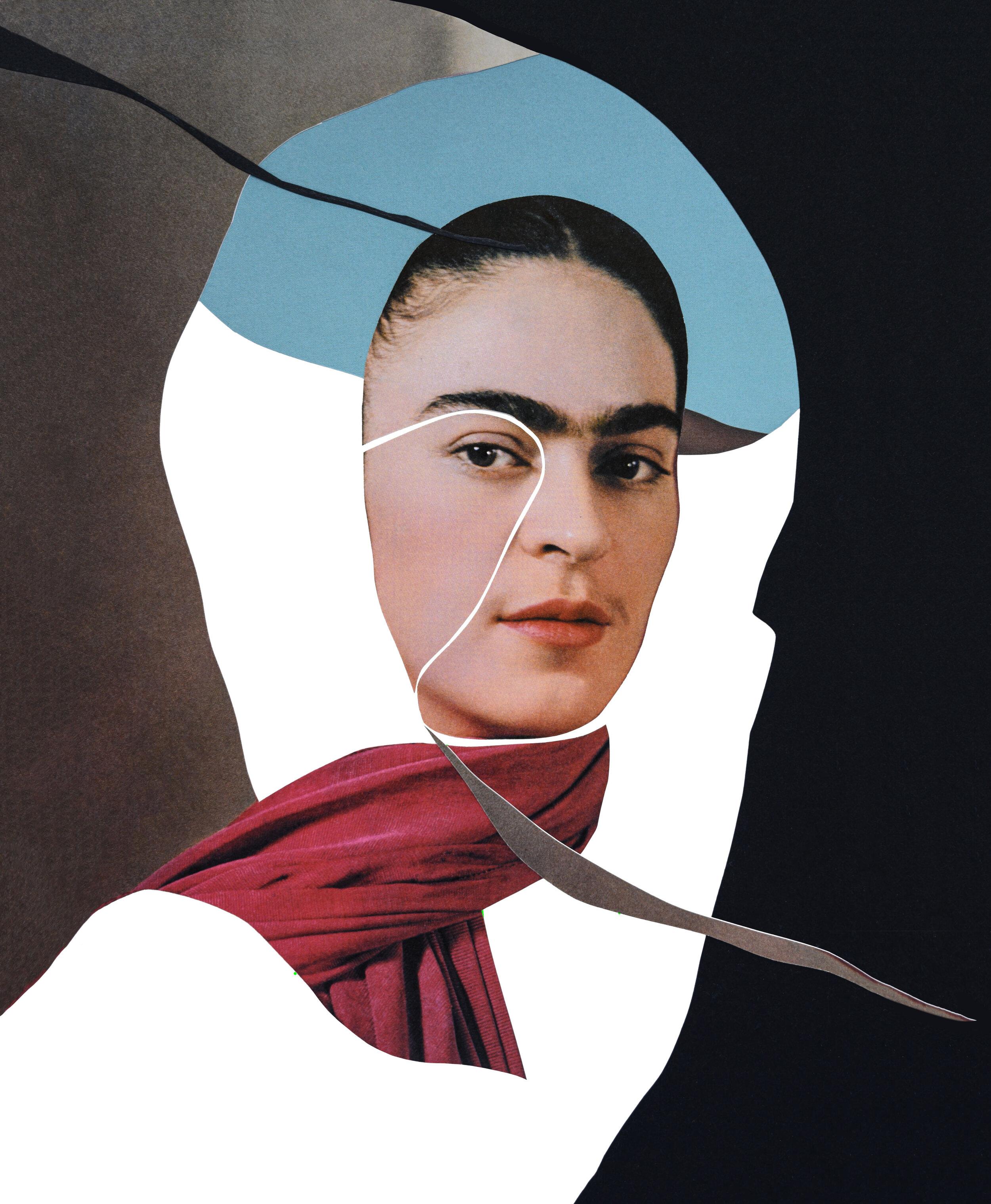 'FRIDA KAHLO' | analog  collage on 100Ib Bristol, 11 x 14 inches. 2019.