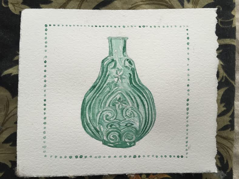 This is a card I just made for Paul featuring a glass scroll flask, which is a very collectable type of handblown bottle. They come in such pretty colors and designs! You will probably be seeing some more bottle paintings in the near future...
