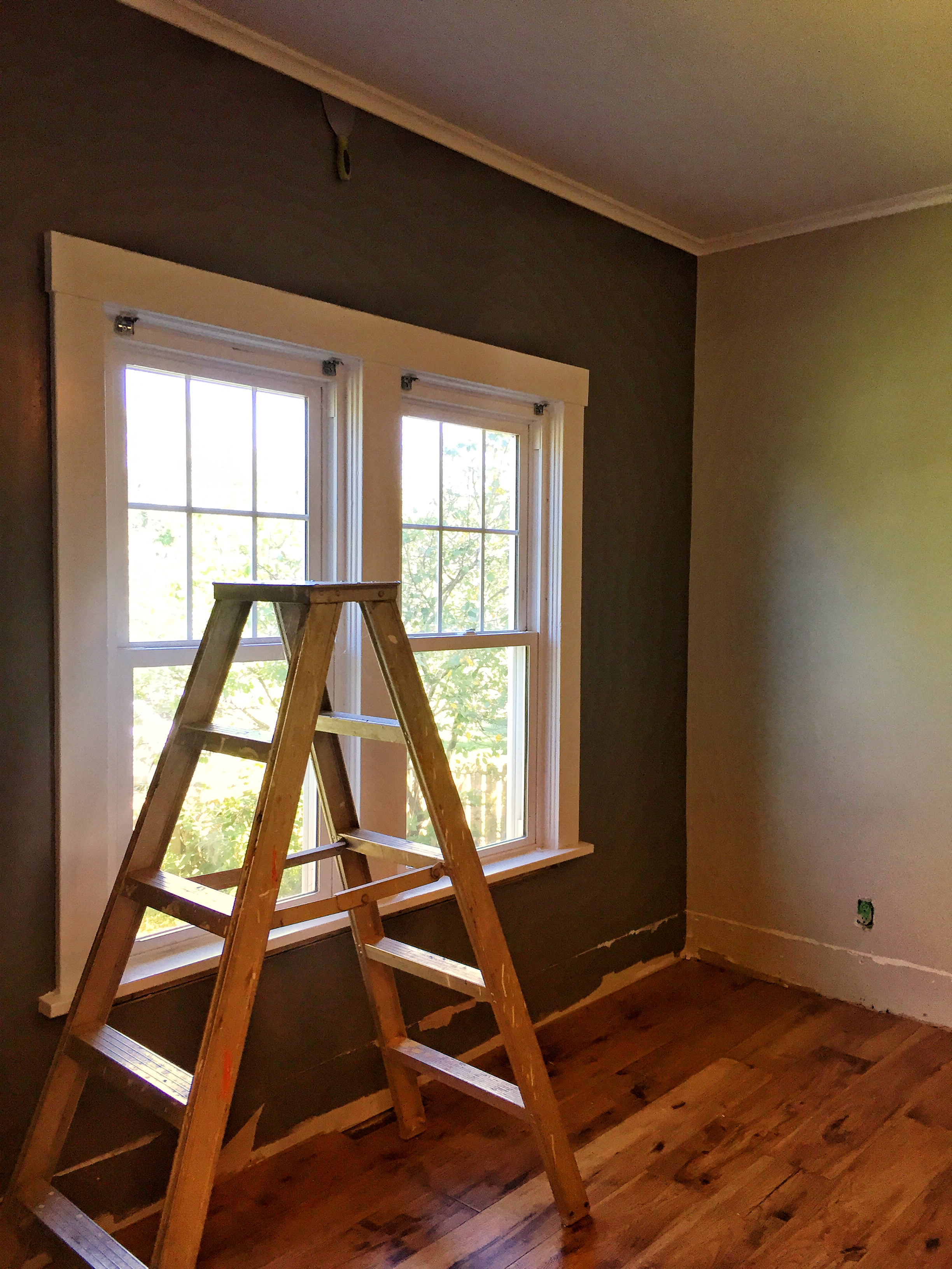Getting started on the dining room project - removing the old baseboards. (Not sure why a random scraper is stuck in the crown molding. Most likely, I started working up there then got distracted.)