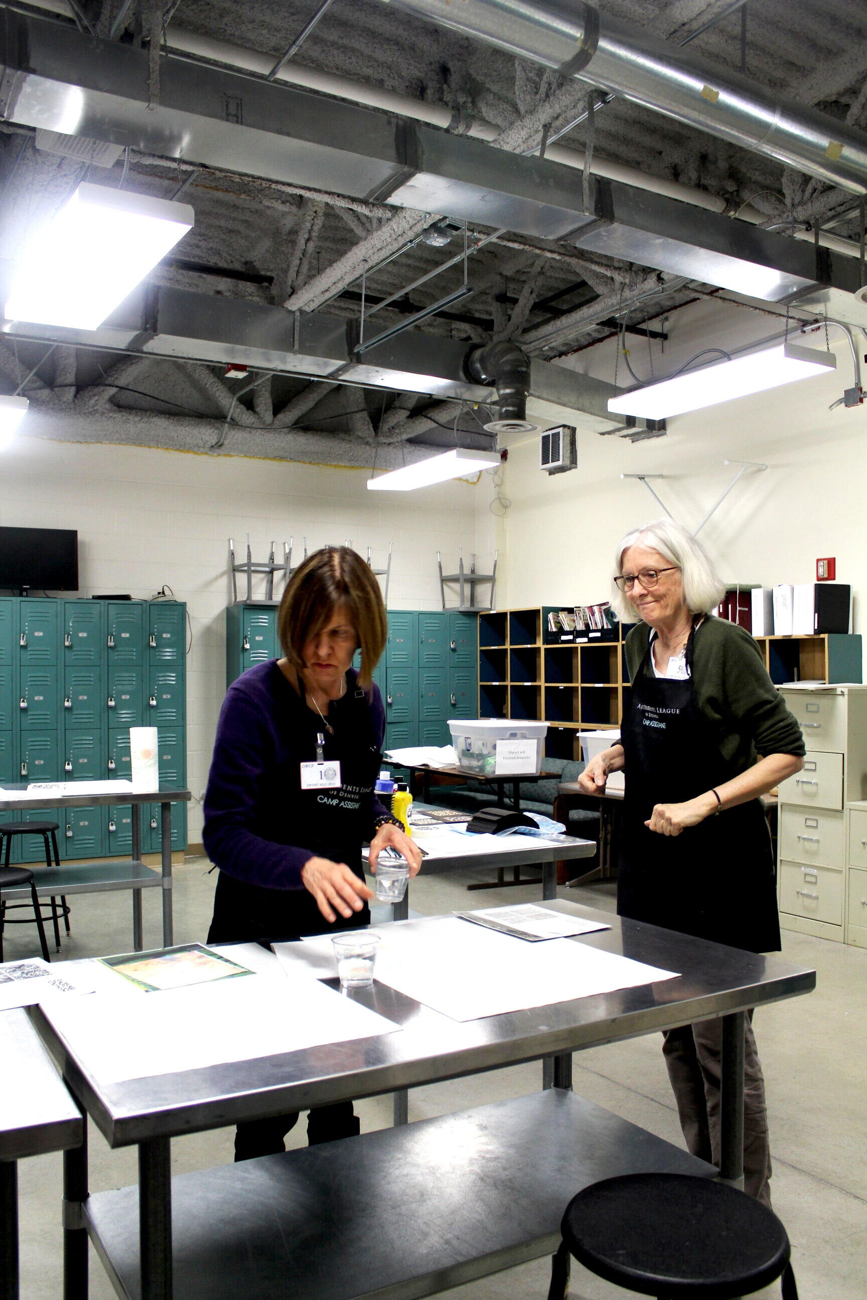 Faculty prepare to teach an Art in Prison workshop inside Denver Women's Correctional Facility. Image courtesy of Art Students League of Denver.