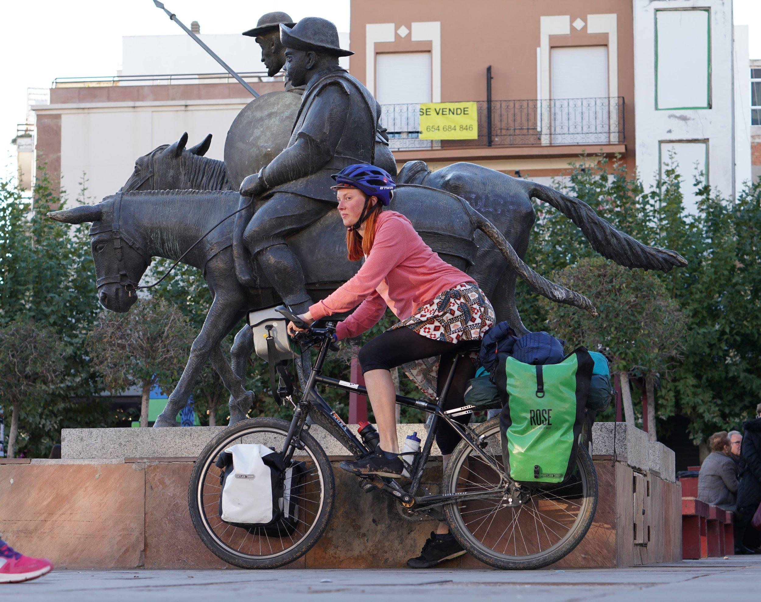 Posing with Sancho Panza and Don Quixote, Alcazar San Juan