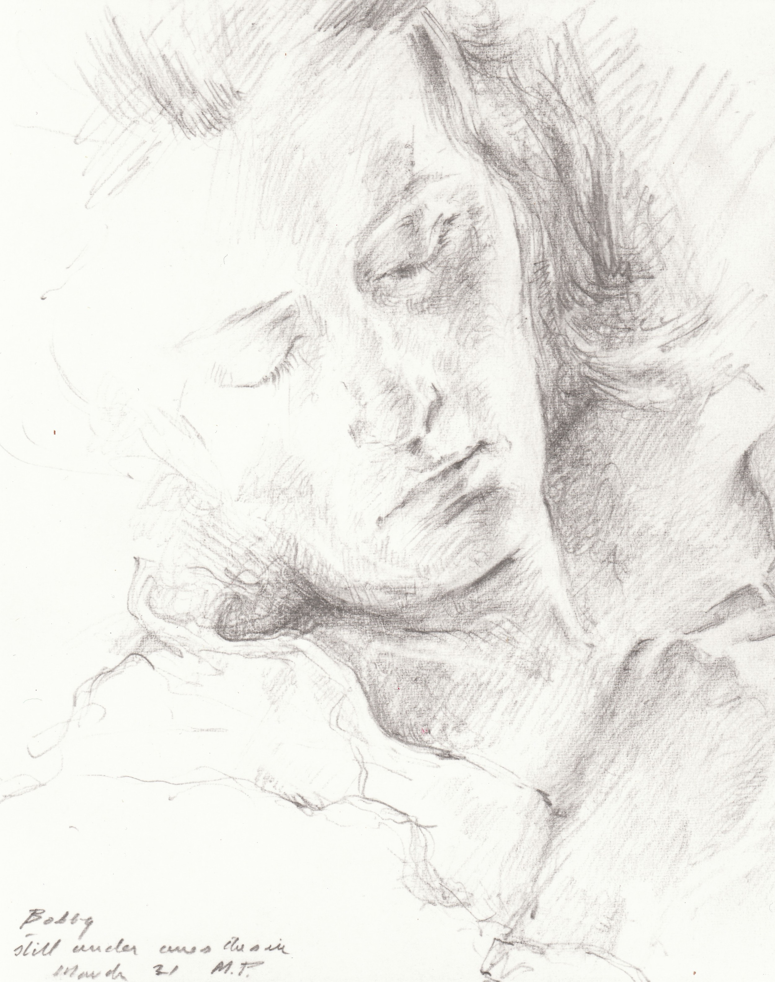 Bobby Still Under Anesthesia.    1972, pencil on paper. 6.5 x 5.3 inches. Private Collection.