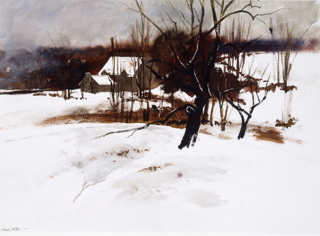 WINTER AT AUGUSTA'S.         1970, Watercolor.  20 1/2  x  29 inches.   Courtesy of the New Britain Museum of American Art.  2010/119  .