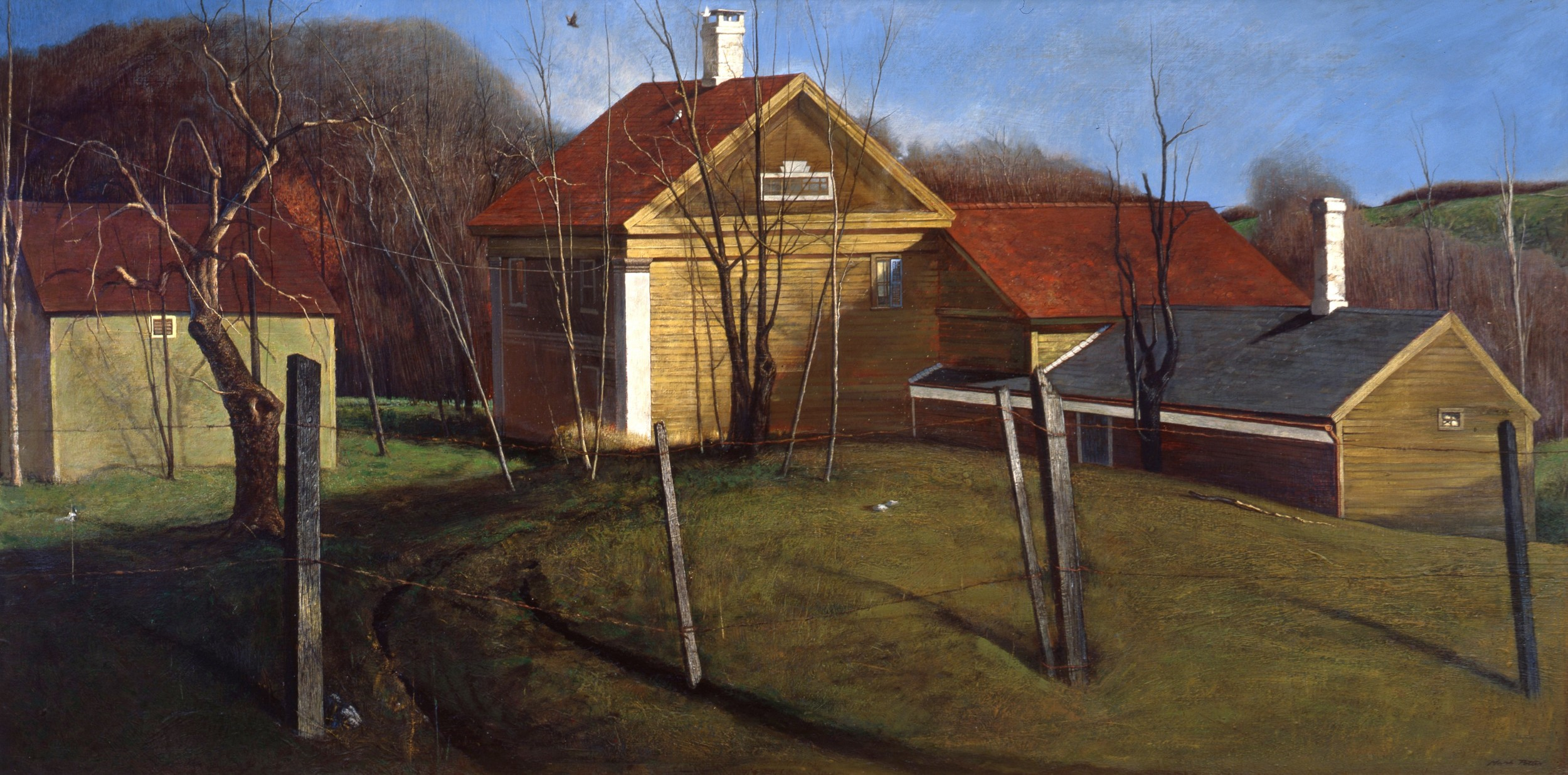 Before Nightfall at Augusta's.        1968-1972, tempera on panel.  28.5 x 57.5 inches.  Collection of The Taft School.