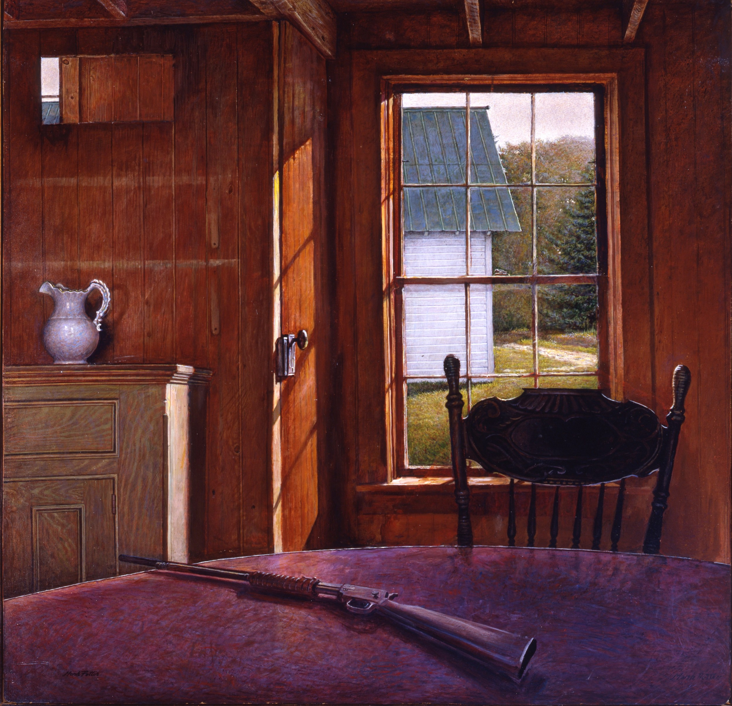 Upstate aka The Maids' Dining Room.      1983, tempera on panel. 45.5 x 47 inches. Courtesy of Adirondack Experience: The Museum on Blue Mountain Lake.  2011.057.     Of all the rooms in my camp this one has always held a special mystery for me, and it doesn't even have a view of the lake. Illustrious guides from Brandreth history sat around this table; men like Reuben Cary, Kurt Hall, Raymond Sabattis. The stairs that lead up from the door are marked by the caulks of lumberman's boots. Even now the room is called the Maids' Dining Room, a reminder of grander days.