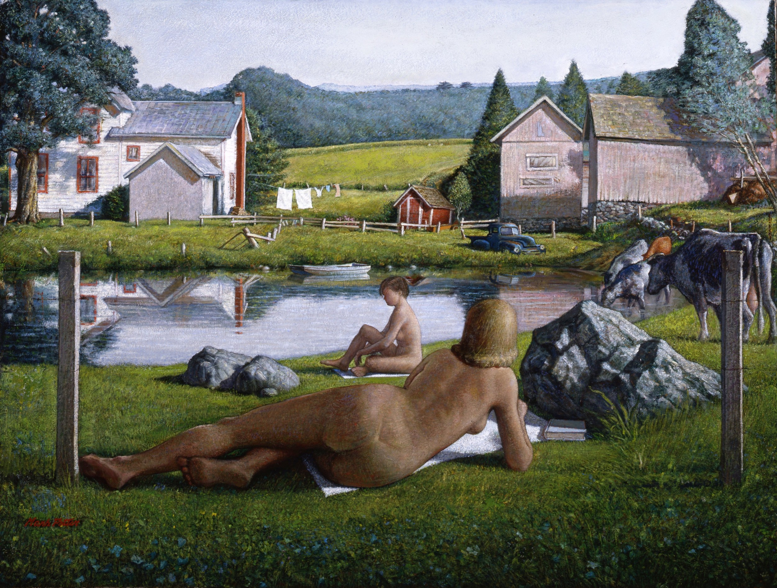 Bathers at Judson's Farm.      1984, oil on canvas. 51.5 x 79.5 inches. Private Collection.