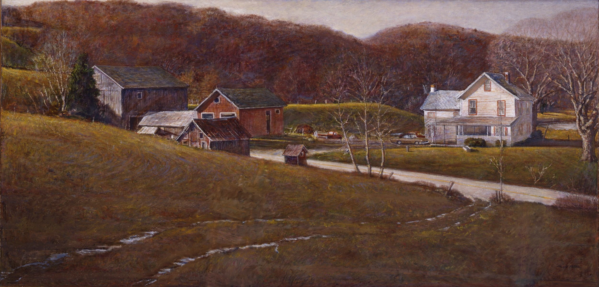 Before Nightfall at Judson's.      1988-1995, tempera on panel. 30 x 80 inches. Private Collection.