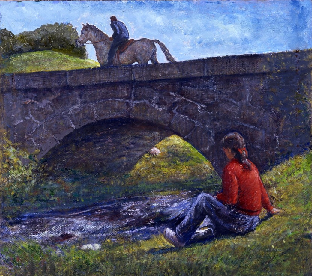Landscape with Maid and Rider.       1994, oil on canvas. 13.5 x 12 inches. Private Collection.