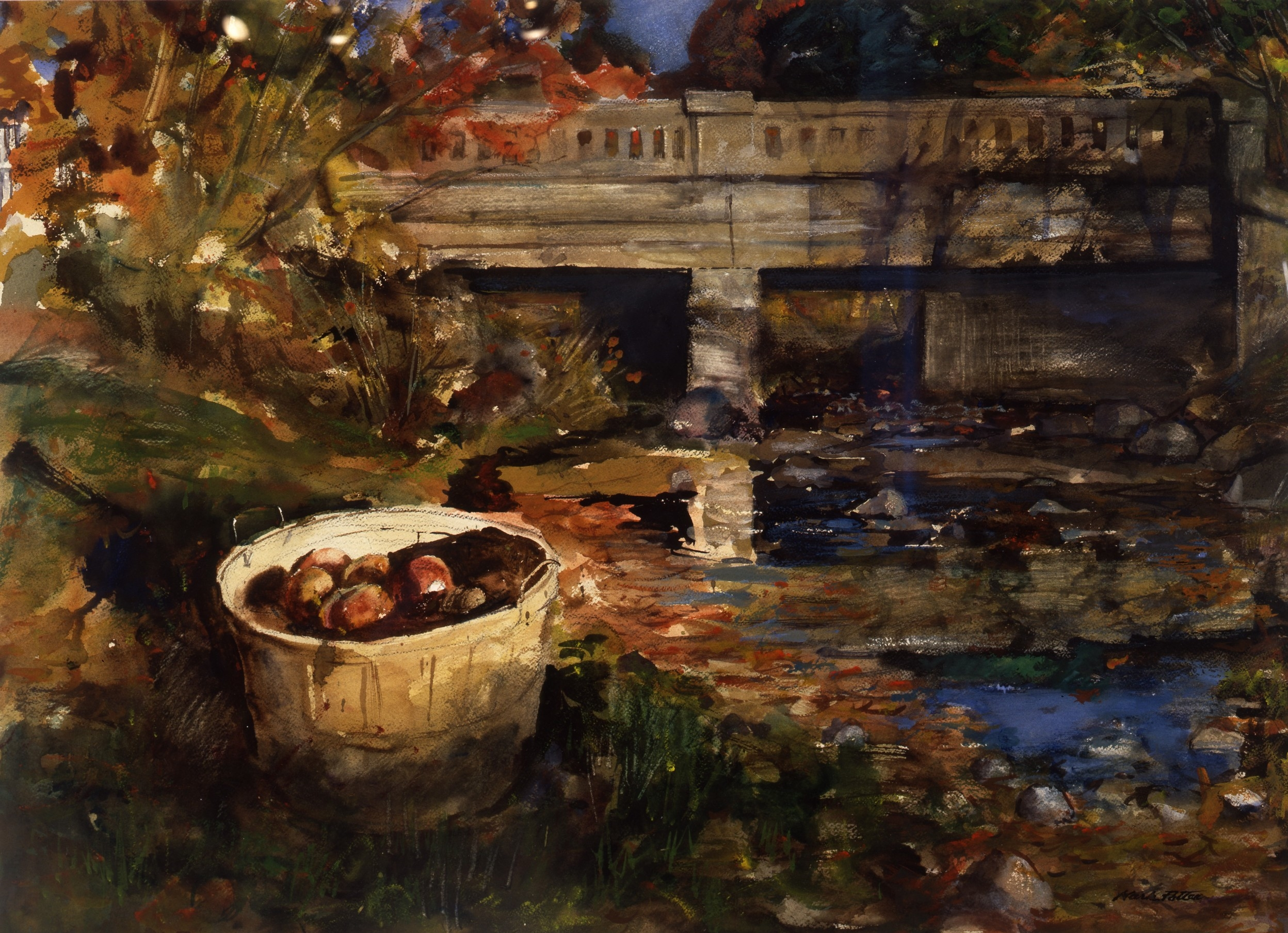 Bridge and Apple Basket.      1992, watercolor. 19 x 28.5 inches. Collection of The Taft School.