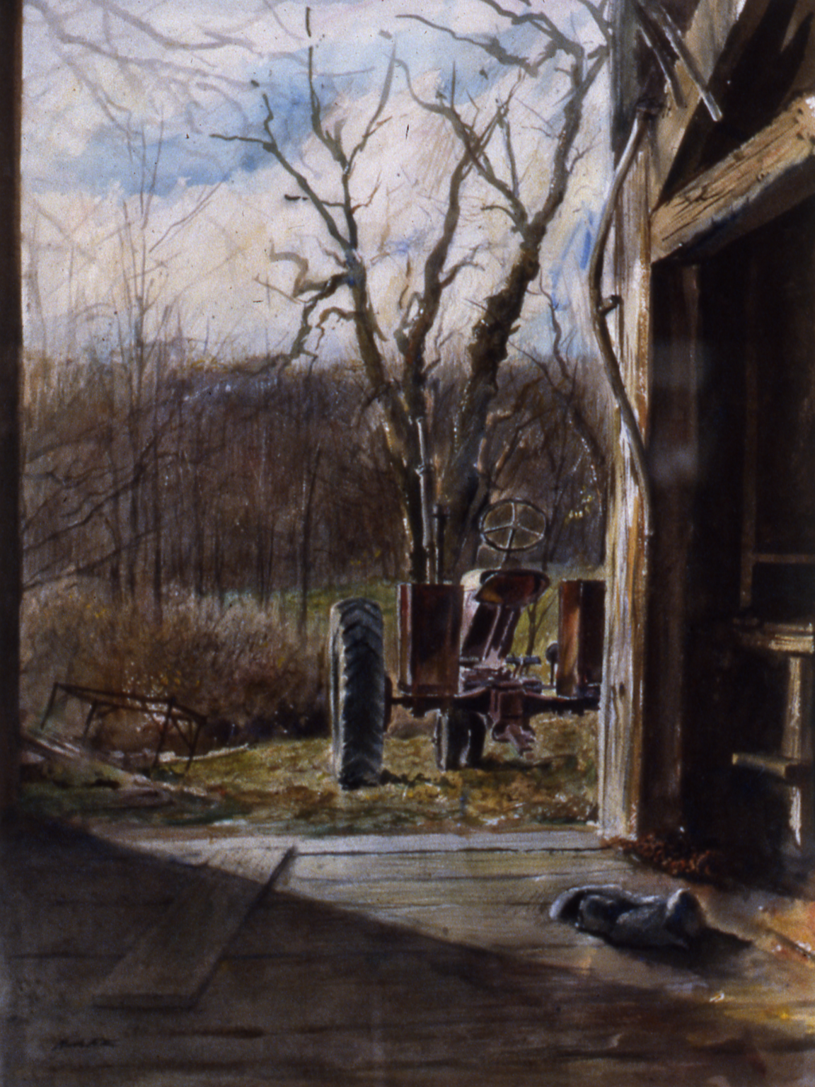 Woody Thomson's Barn.    1987, watercolor. 29 x 22 inches. Private Collection.
