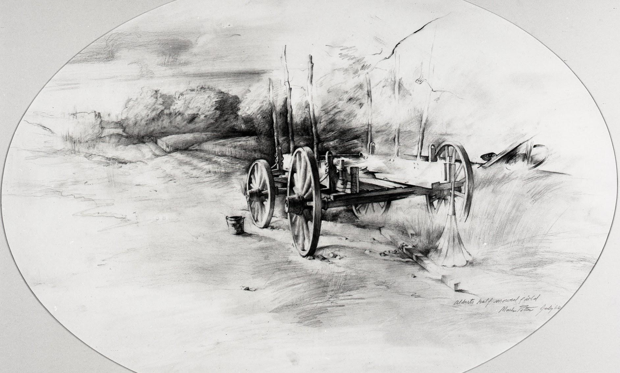 Albert's Half-Mowed Field.    1960, pencil on paper. 18 x 25.5 inches. Collection of The Taft School.   The farm across the river from our old house was owned by a Lithuanian...still farming in the late 20th century. He spoke no English, nor did his adult son who couldn't drive a car... The father passed away and one day the son's sister came running over to call the police because her brother was attacking their mother. The police arrived after the crisis passed to find the son mowing the fields. As officers approached him to discuss the attack he chased them around the field trying to hit them with the mowing blade. Finally he was arrested and taken off. The tractor was left in the field which remained half mown.