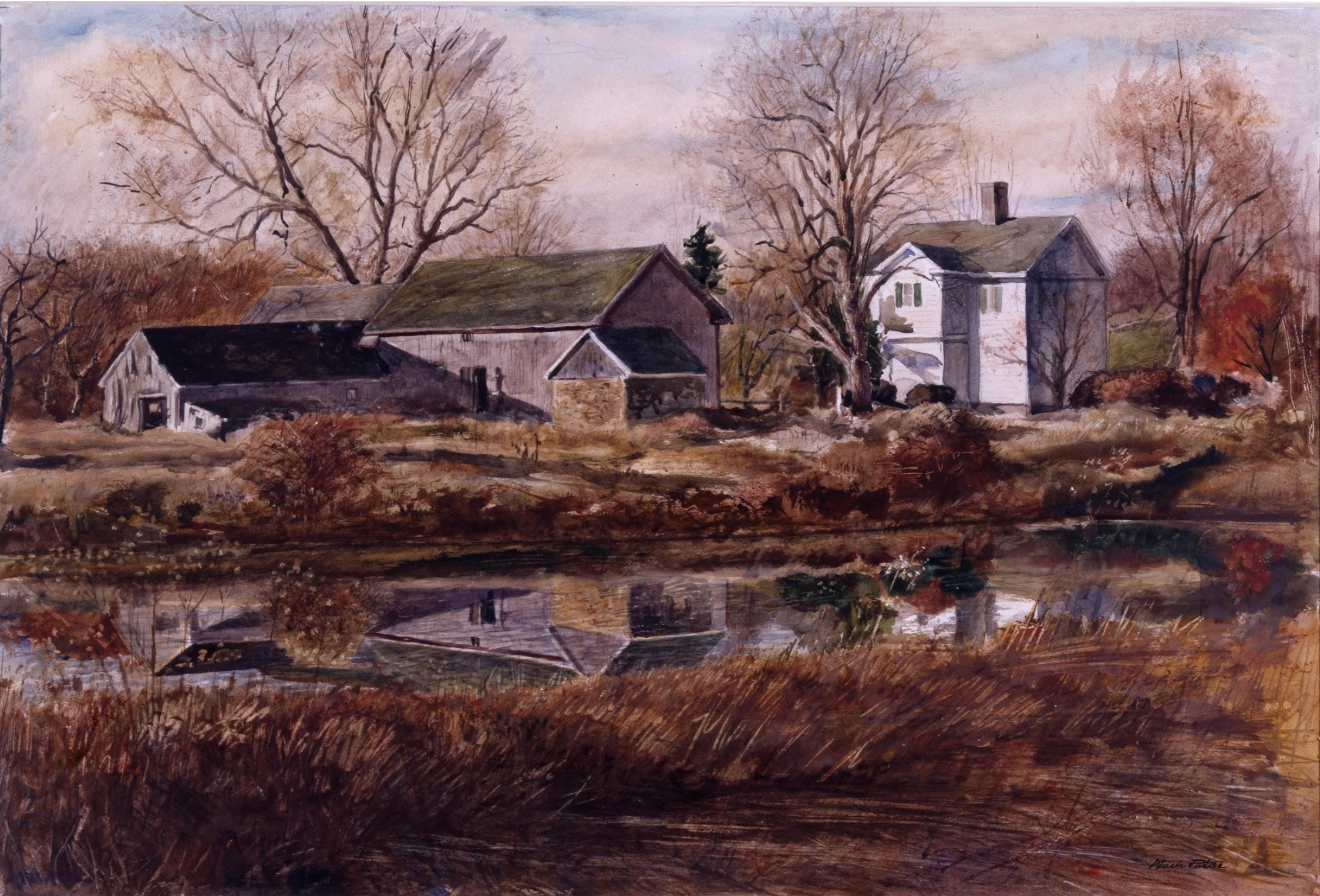 Farm Pond on Church Hill Road.      1990 watercolor drybrush.   19.3 x 29.4 inches.