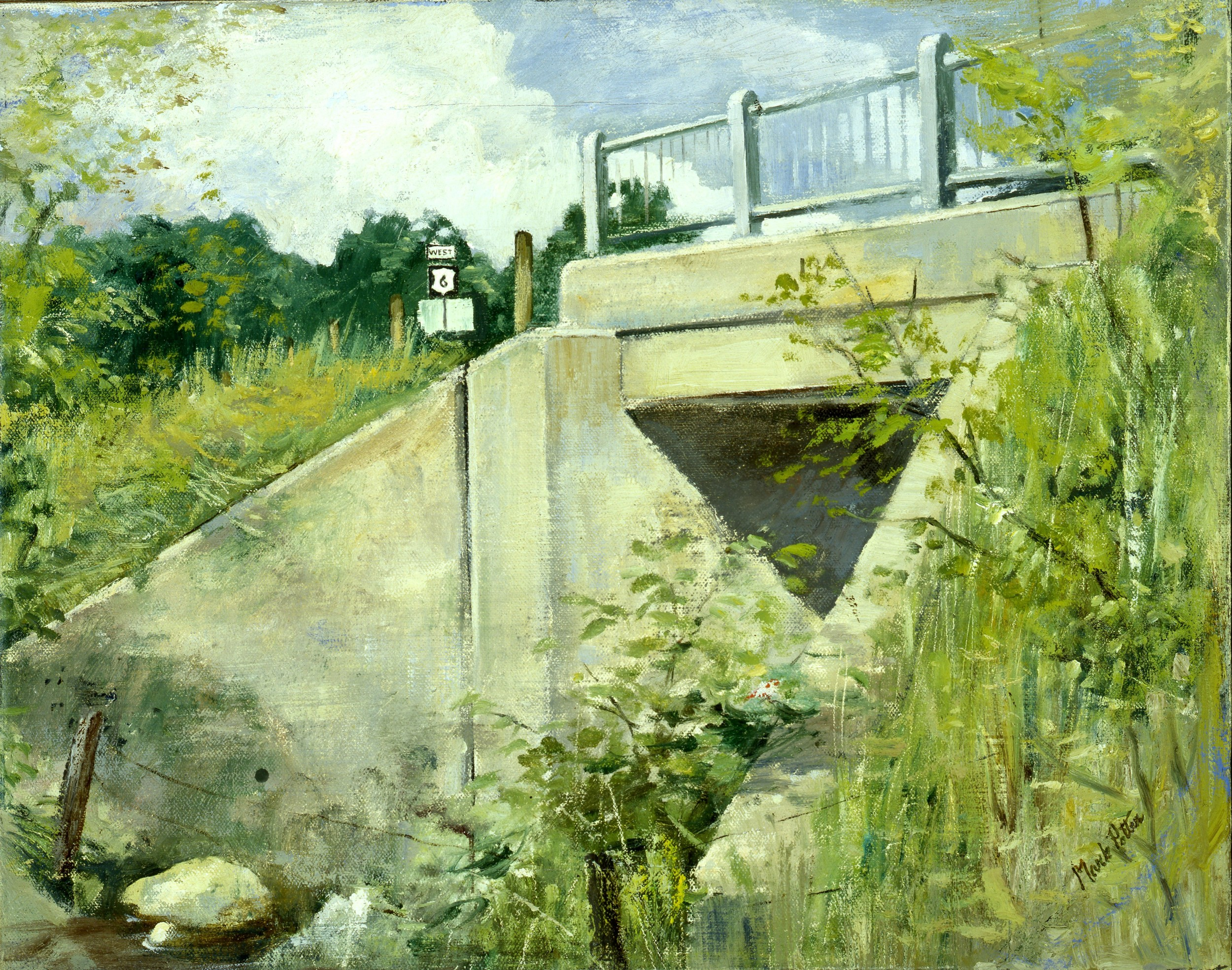 Bridge Under Route 6.      1980, oil on canvas. 14.4 x 18.1 inches.