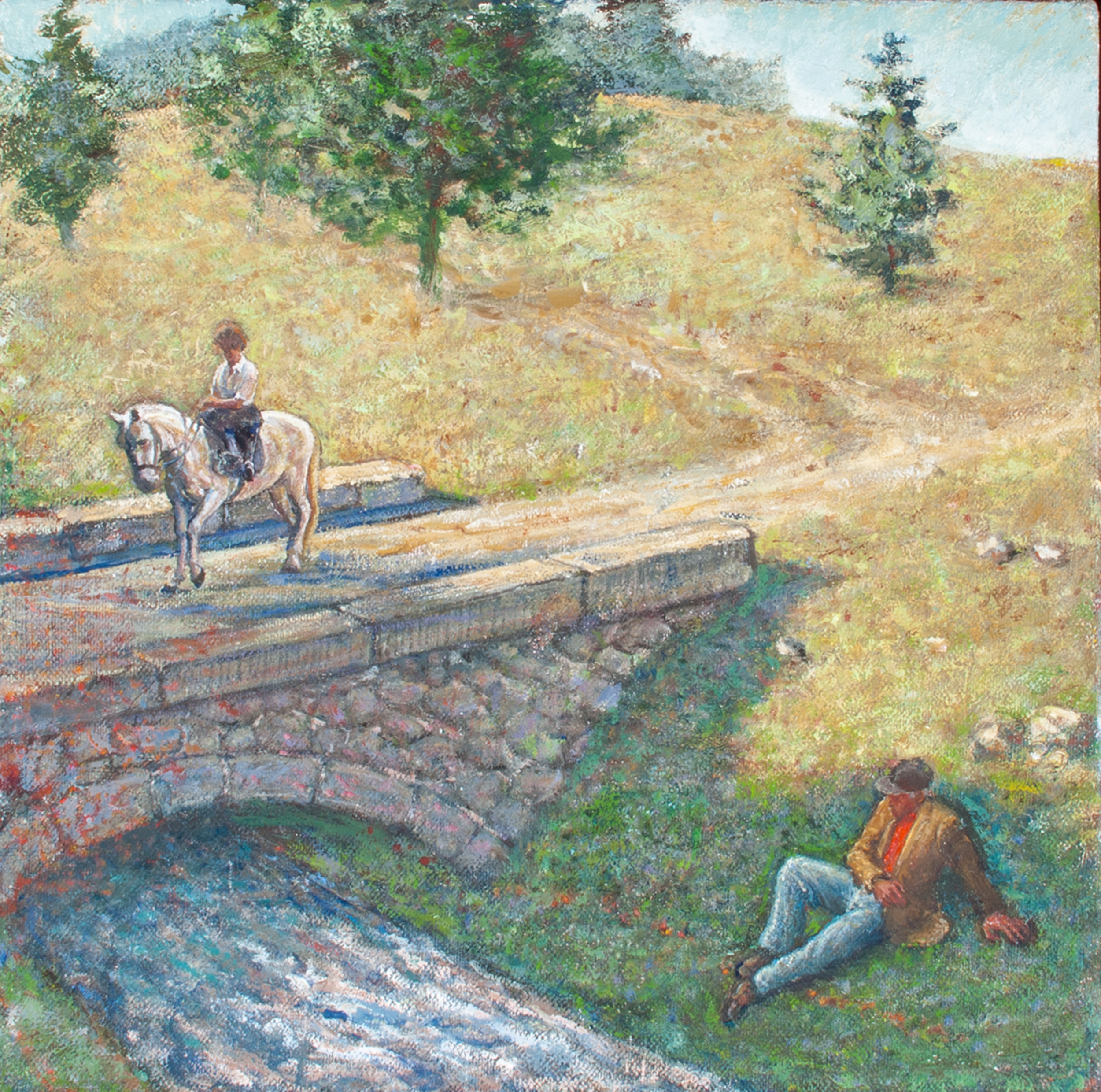 Landscape with Old Man and Maid.      1994, oil on canvas. 12.1 x 12.1inches. Private Collection.