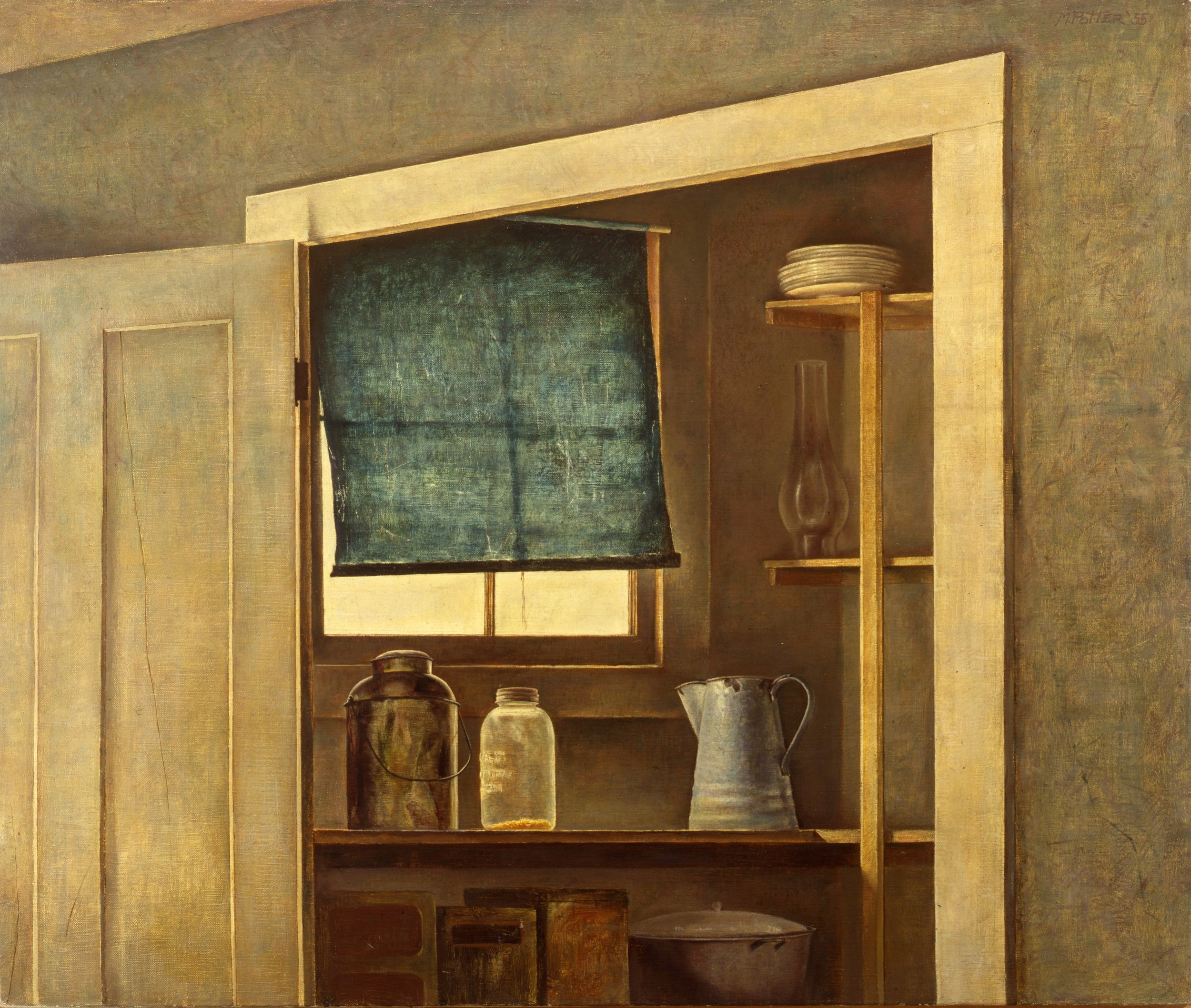Early Still Life - Pantry.      1955, oil on canvas. 25 x 30 inches. Private Collection.