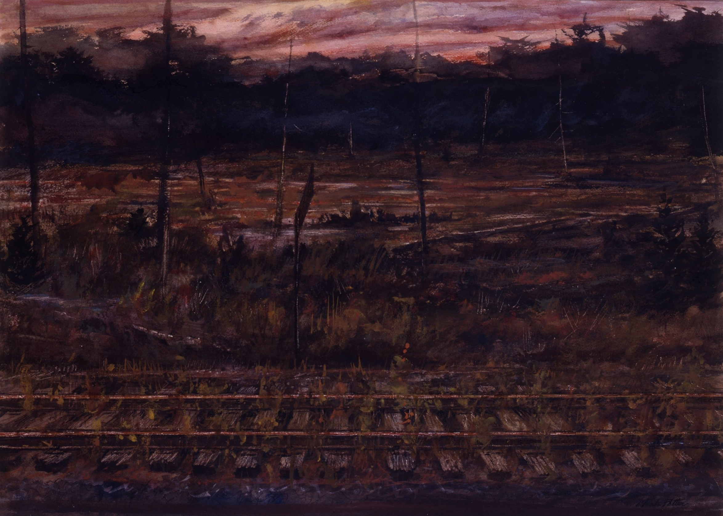 Sunset on the Adirondack Division.    1991, watercolor. 22 x 30 inches.