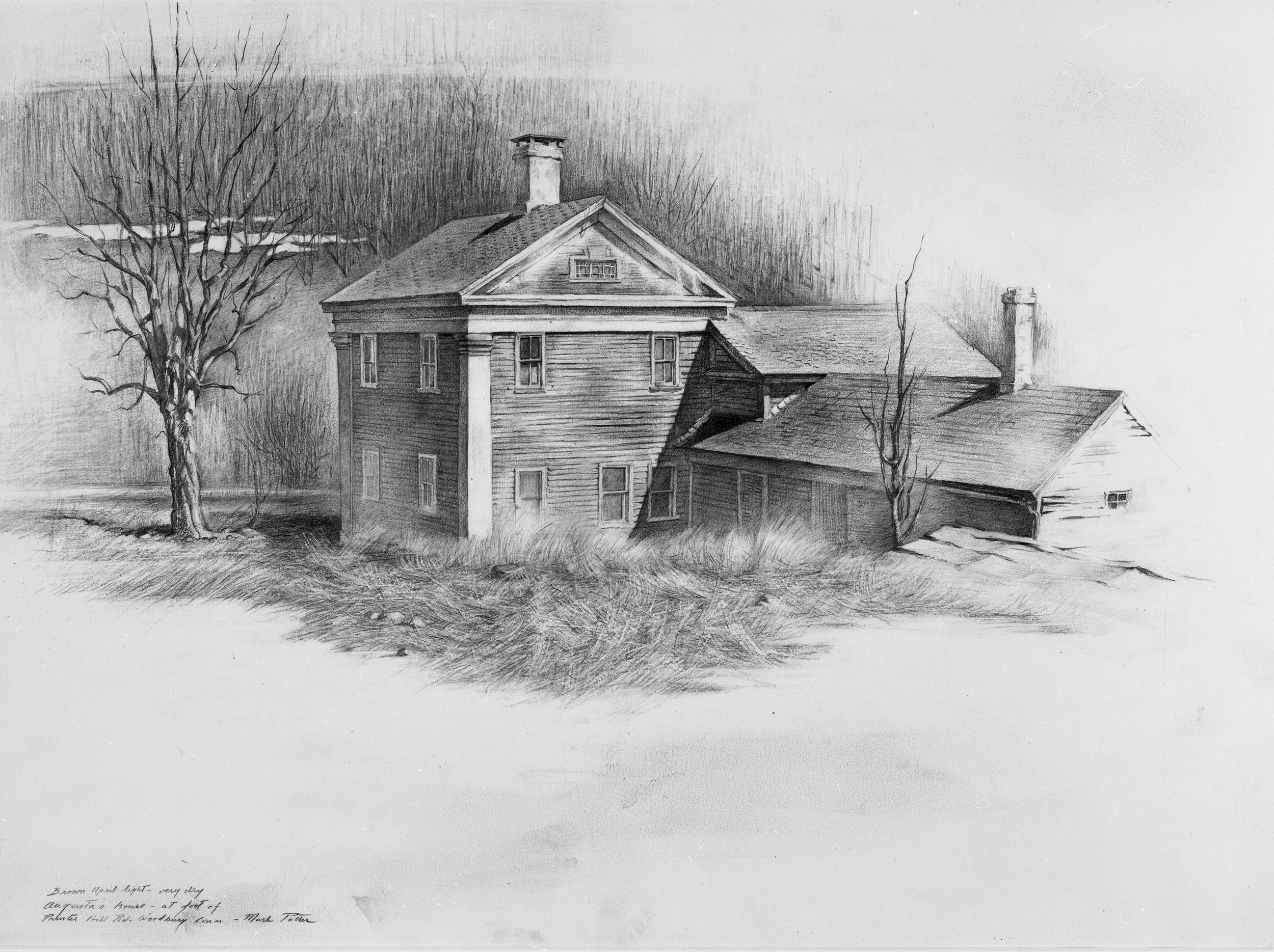 Augusta's House.   1966, pencil on paper. 15.5 x 21.3 inches. Private Collection.