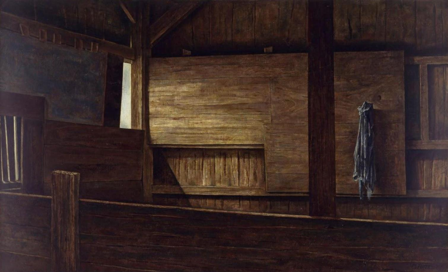 BARN INTERIOR #1.         1956,  oil on canvas.  Private Collection.